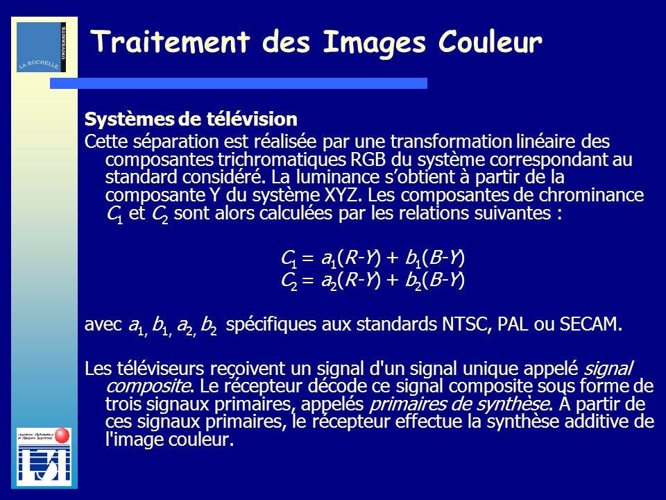Laboratoire dInformatique et dImagerie Industrielle Traitement des Images Couleur Systèmes de télévision Cette séparation est réalisée par une transfo