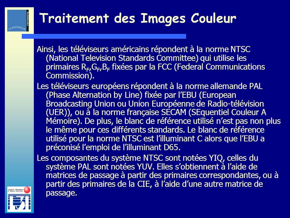 Laboratoire dInformatique et dImagerie Industrielle Traitement des Images Couleur Ainsi, les téléviseurs américains répondent à la norme NTSC (Nationa