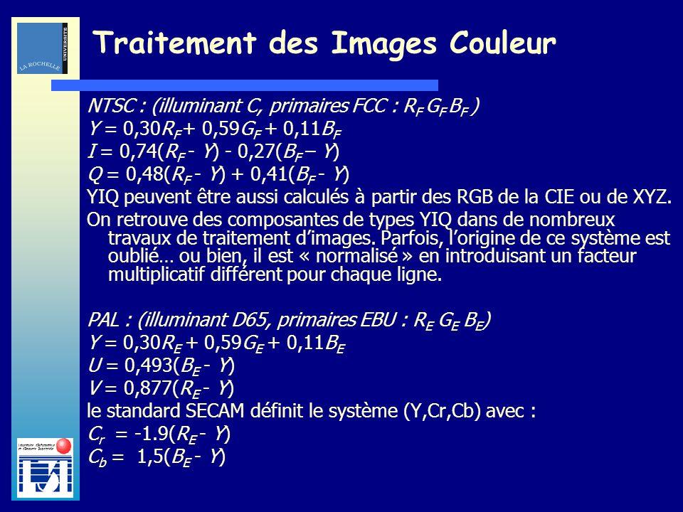 Laboratoire dInformatique et dImagerie Industrielle Traitement des Images Couleur NTSC : (illuminant C, primaires FCC : R F G F B F ) Y = 0,30R F + 0,