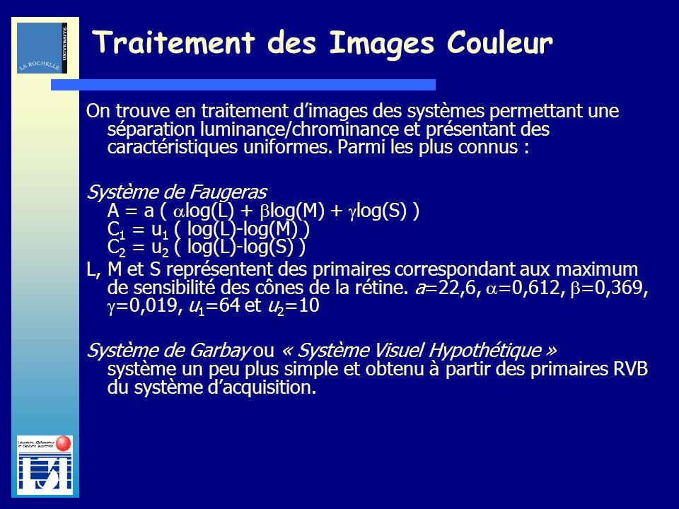 Laboratoire dInformatique et dImagerie Industrielle Traitement des Images Couleur On trouve en traitement dimages des systèmes permettant une séparati