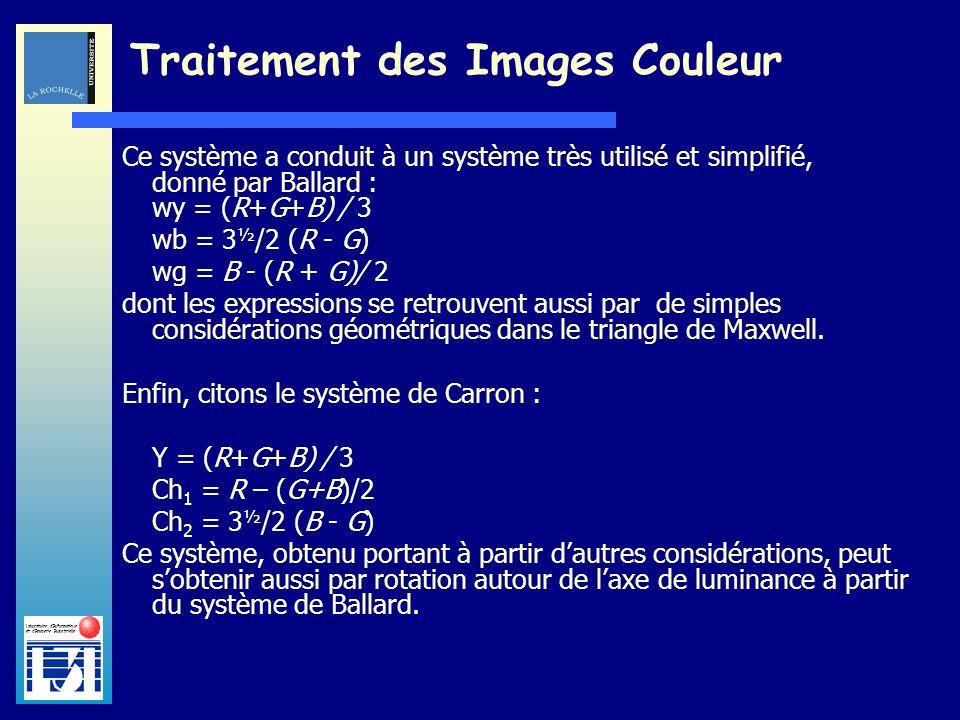 Laboratoire dInformatique et dImagerie Industrielle Traitement des Images Couleur Ce système a conduit à un système très utilisé et simplifié, donné p