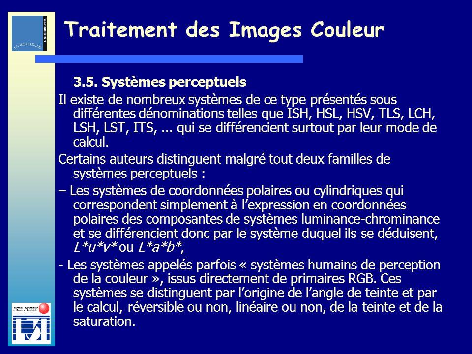 Laboratoire dInformatique et dImagerie Industrielle Traitement des Images Couleur 3.5. Systèmes perceptuels Il existe de nombreux systèmes de ce type
