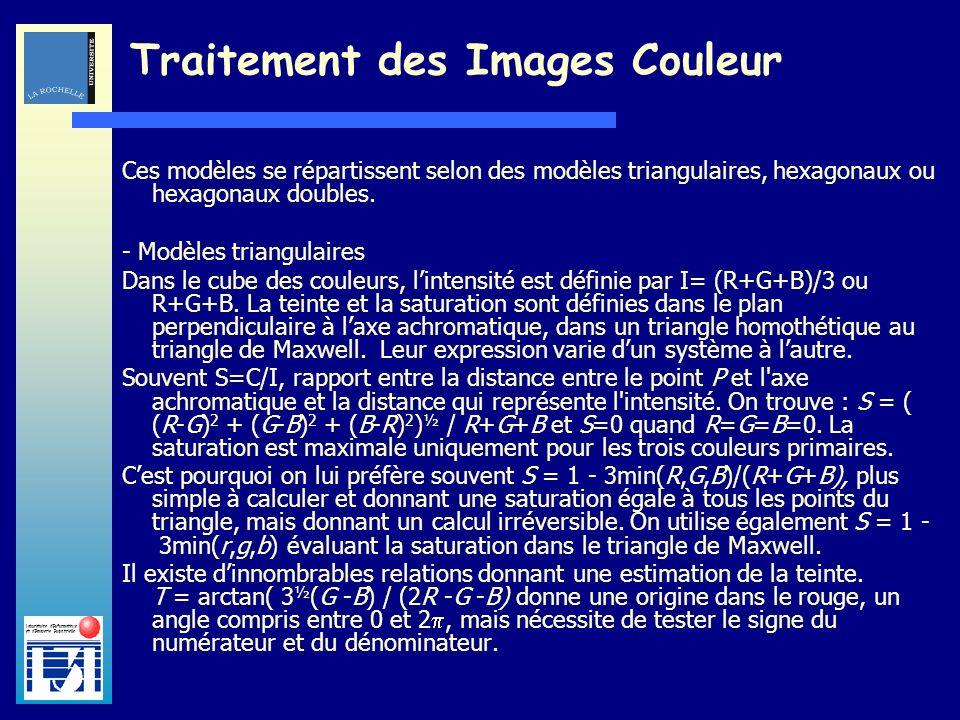 Laboratoire dInformatique et dImagerie Industrielle Traitement des Images Couleur Ces modèles se répartissent selon des modèles triangulaires, hexagon