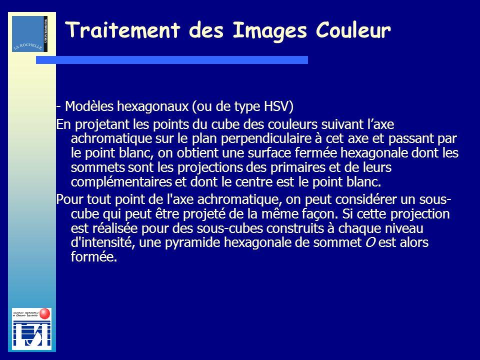 Laboratoire dInformatique et dImagerie Industrielle Traitement des Images Couleur - Modèles hexagonaux (ou de type HSV) En projetant les points du cub