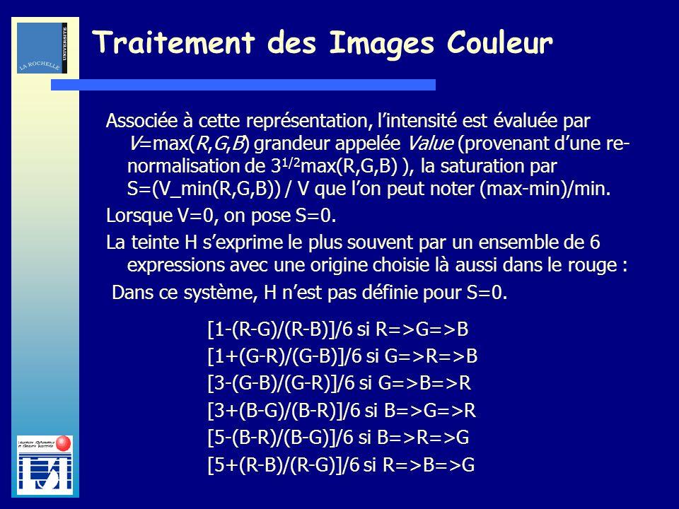Laboratoire dInformatique et dImagerie Industrielle Traitement des Images Couleur Associée à cette représentation, lintensité est évaluée par V=max(R,