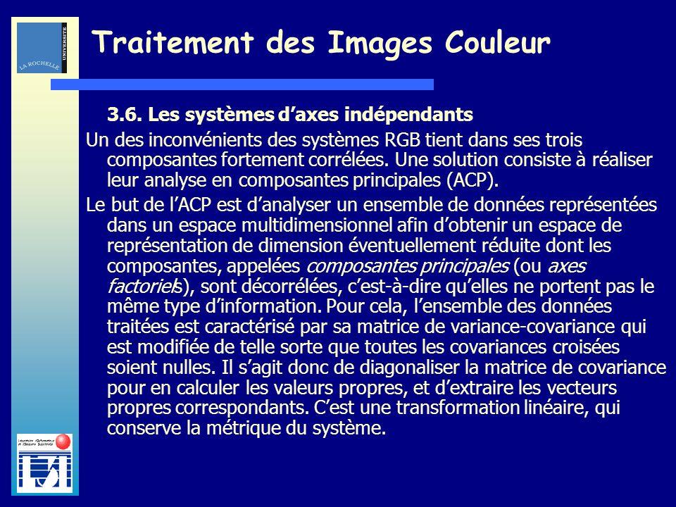 Laboratoire dInformatique et dImagerie Industrielle Traitement des Images Couleur 3.6. Les systèmes daxes indépendants Un des inconvénients des systèm