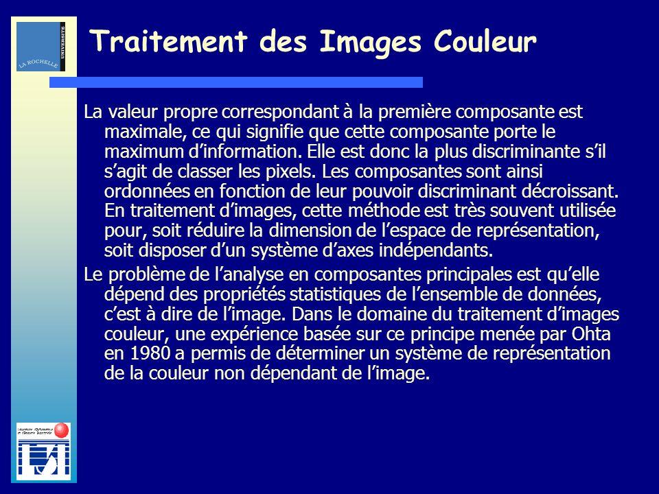 Laboratoire dInformatique et dImagerie Industrielle Traitement des Images Couleur La valeur propre correspondant à la première composante est maximale