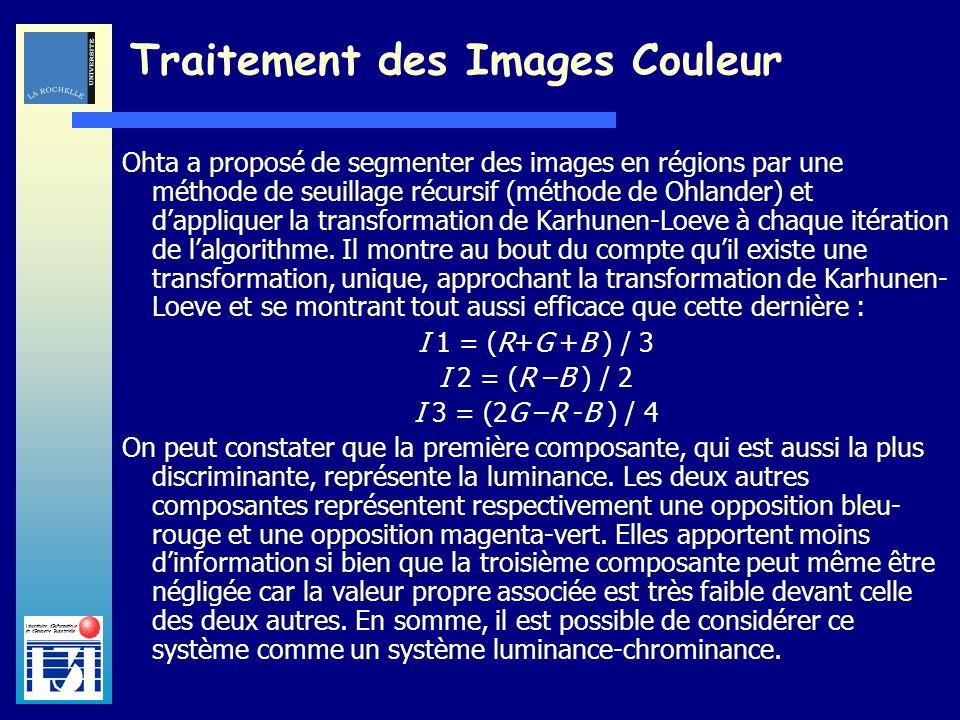 Laboratoire dInformatique et dImagerie Industrielle Traitement des Images Couleur Ohta a proposé de segmenter des images en régions par une méthode de