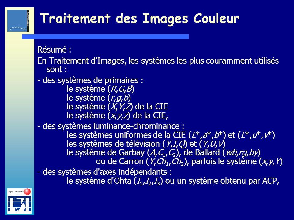 Laboratoire dInformatique et dImagerie Industrielle Traitement des Images Couleur Résumé : En Traitement dImages, les systèmes les plus couramment uti