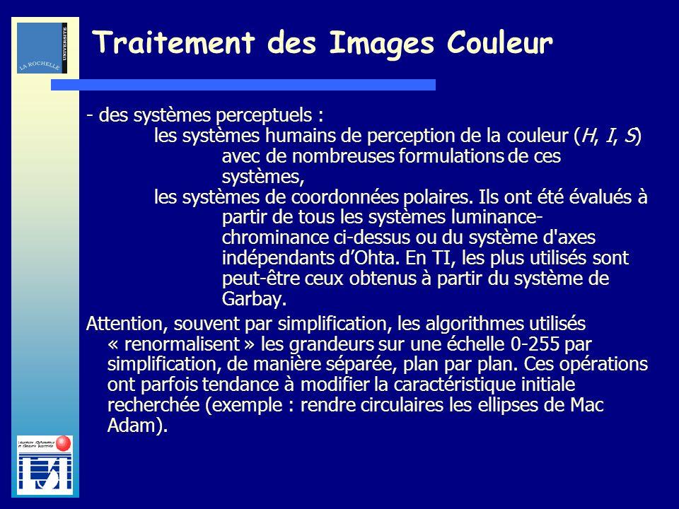 Laboratoire dInformatique et dImagerie Industrielle Traitement des Images Couleur - des systèmes perceptuels : les systèmes humains de perception de l