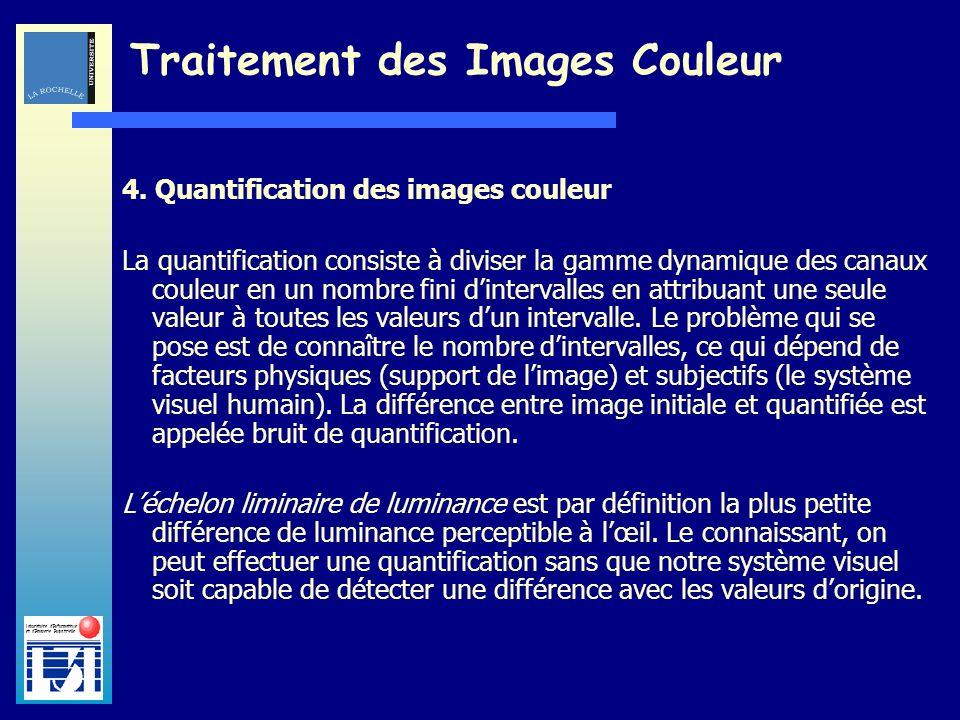 Laboratoire dInformatique et dImagerie Industrielle Traitement des Images Couleur 4. Quantification des images couleur La quantification consiste à di