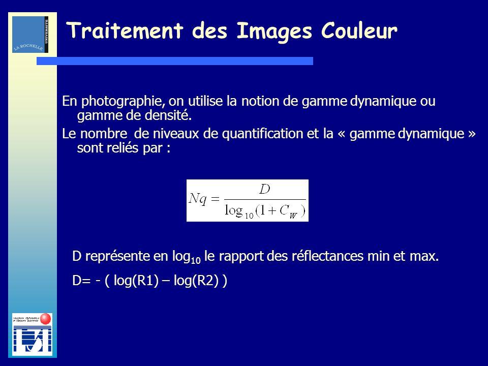 Laboratoire dInformatique et dImagerie Industrielle Traitement des Images Couleur En photographie, on utilise la notion de gamme dynamique ou gamme de