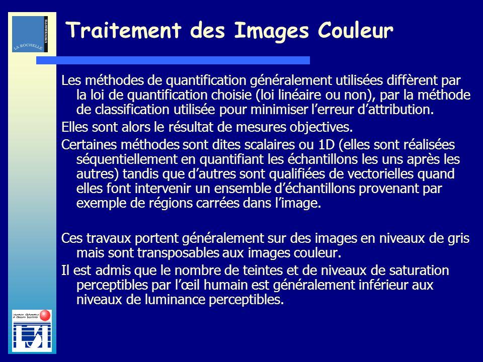 Laboratoire dInformatique et dImagerie Industrielle Traitement des Images Couleur Les méthodes de quantification généralement utilisées diffèrent par