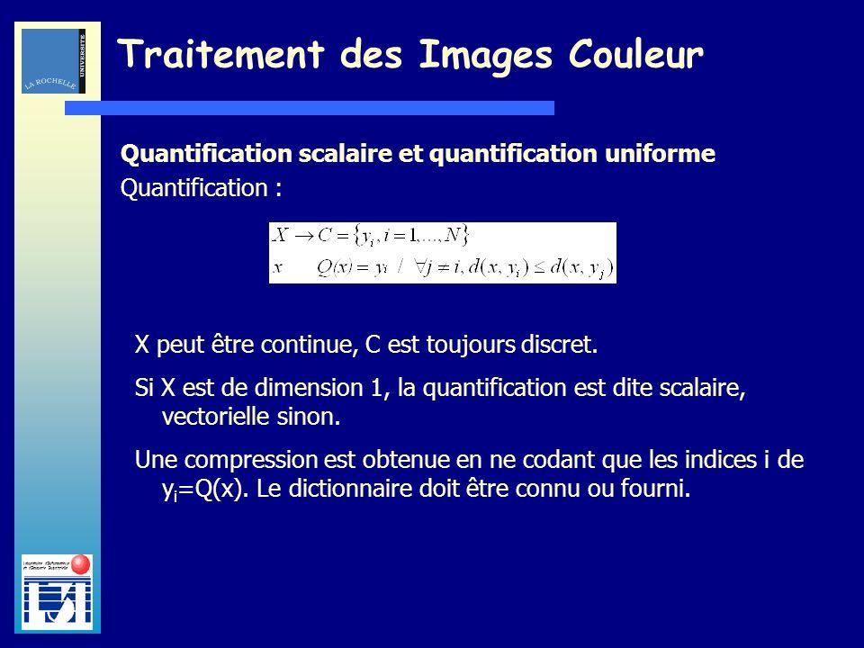 Laboratoire dInformatique et dImagerie Industrielle Traitement des Images Couleur Quantification scalaire et quantification uniforme Quantification :