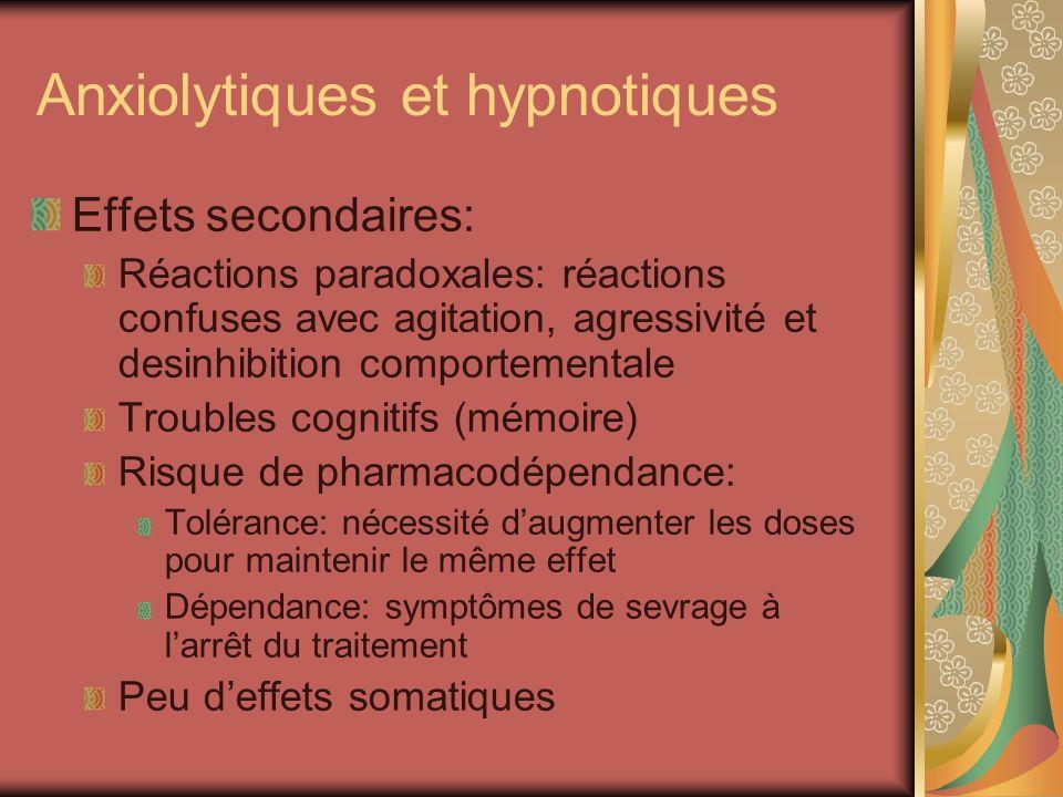 Anxiolytiques et hypnotiques Effets secondaires: Réactions paradoxales: réactions confuses avec agitation, agressivité et desinhibition comportemental