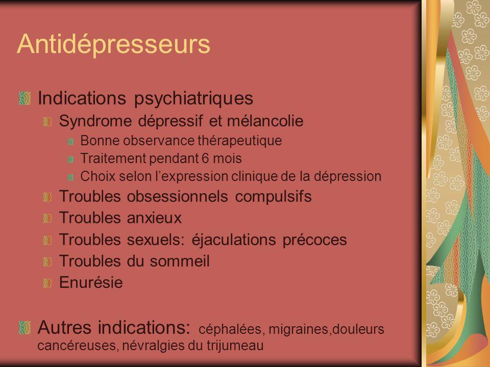 Antidépresseurs Indications psychiatriques Syndrome dépressif et mélancolie Bonne observance thérapeutique Traitement pendant 6 mois Choix selon lexpr