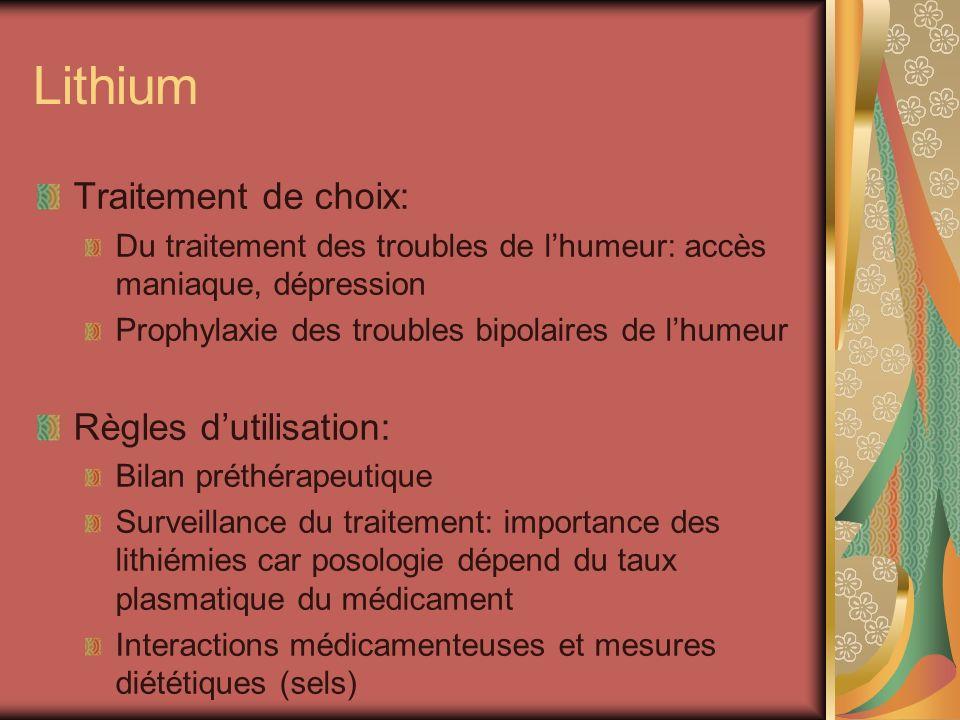 Lithium Traitement de choix: Du traitement des troubles de lhumeur: accès maniaque, dépression Prophylaxie des troubles bipolaires de lhumeur Règles d