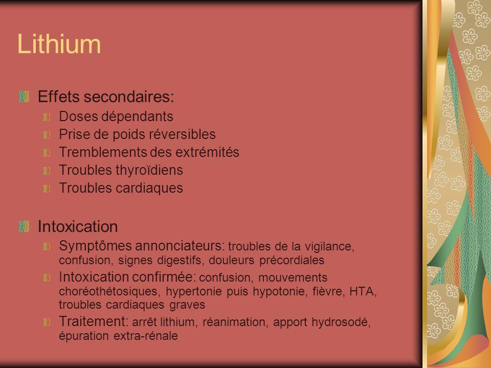 Lithium Effets secondaires: Doses dépendants Prise de poids réversibles Tremblements des extrémités Troubles thyroïdiens Troubles cardiaques Intoxicat