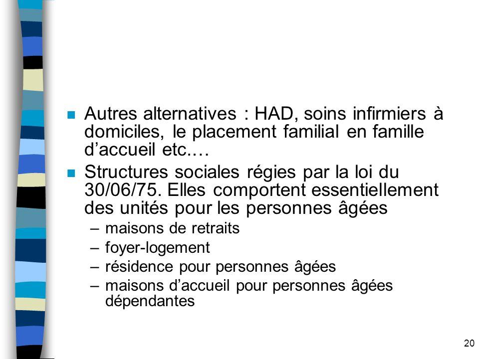 20 n Autres alternatives : HAD, soins infirmiers à domiciles, le placement familial en famille daccueil etc.… n Structures sociales régies par la loi du 30/06/75.