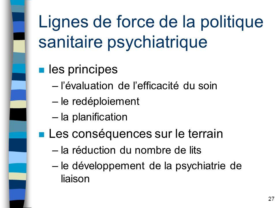27 Lignes de force de la politique sanitaire psychiatrique n les principes –lévaluation de lefficacité du soin –le redéploiement –la planification n Les conséquences sur le terrain –la réduction du nombre de lits –le développement de la psychiatrie de liaison