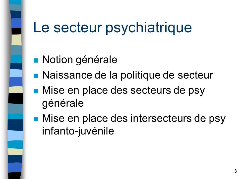 3 Le secteur psychiatrique n Notion générale n Naissance de la politique de secteur n Mise en place des secteurs de psy générale n Mise en place des intersecteurs de psy infanto-juvénile
