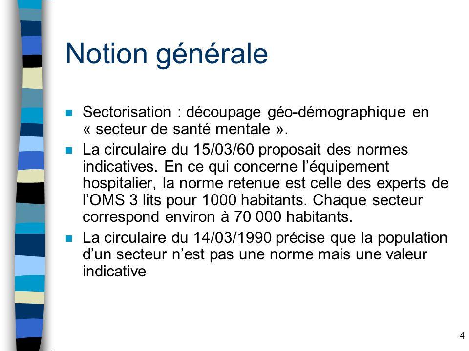 4 Notion générale n Sectorisation : découpage géo-démographique en « secteur de santé mentale ».
