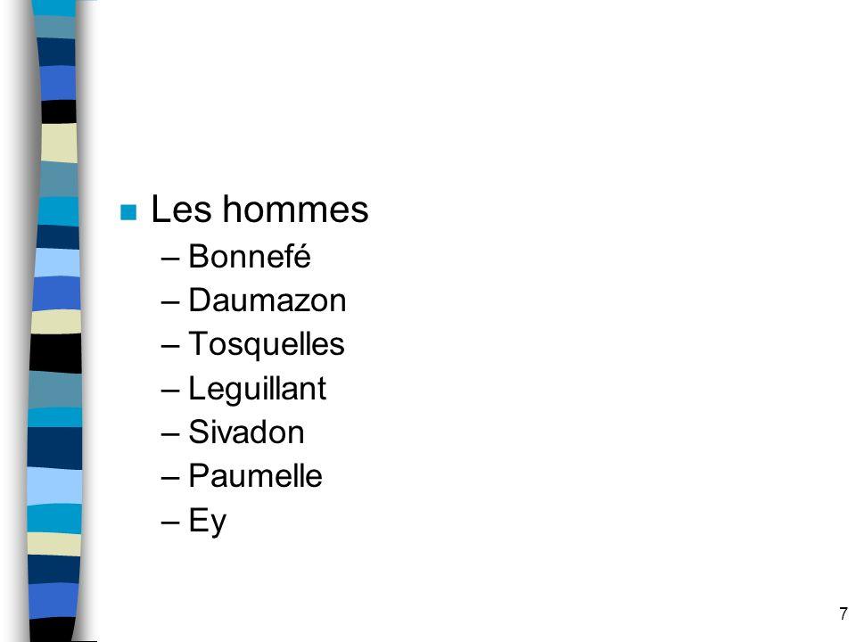 7 n Les hommes –Bonnefé –Daumazon –Tosquelles –Leguillant –Sivadon –Paumelle –Ey