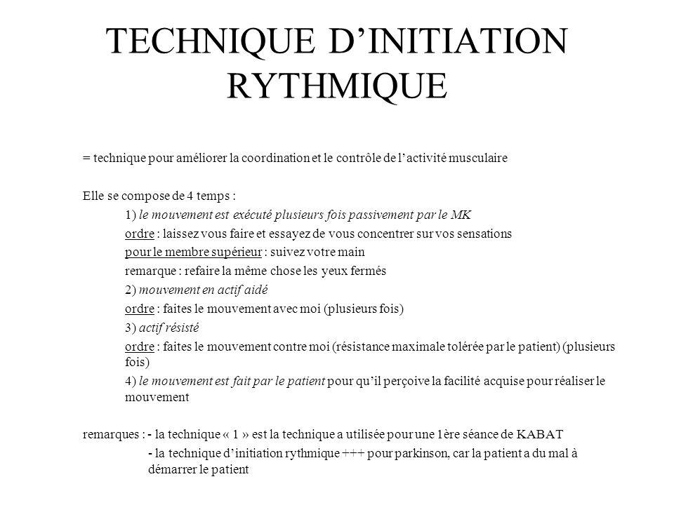 TECHNIQUE DINITIATION RYTHMIQUE = technique pour améliorer la coordination et le contrôle de lactivité musculaire Elle se compose de 4 temps : 1) le m
