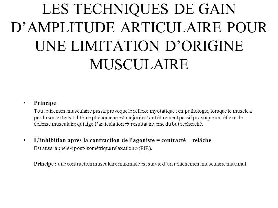 LES TECHNIQUES DE GAIN DAMPLITUDE ARTICULAIRE POUR UNE LIMITATION DORIGINE MUSCULAIRE Principe Tout étirement musculaire passif provoque le réflexe my