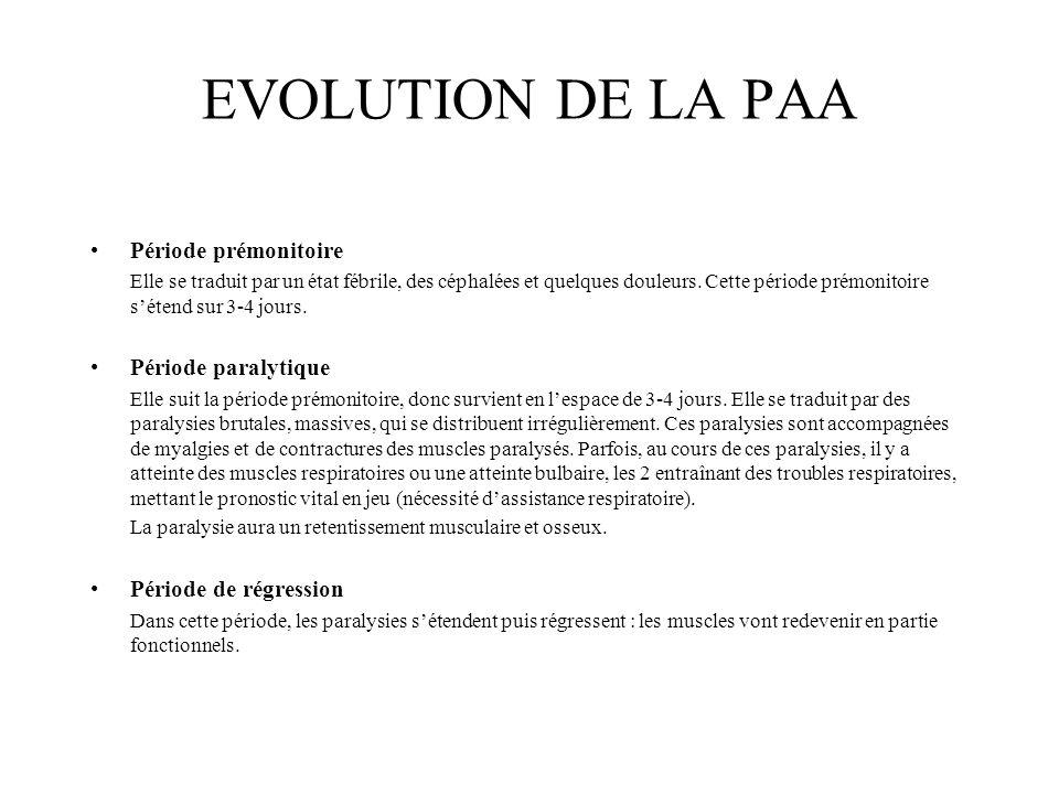 EVOLUTION DE LA PAA Période prémonitoire Elle se traduit par un état fébrile, des céphalées et quelques douleurs. Cette période prémonitoire sétend su