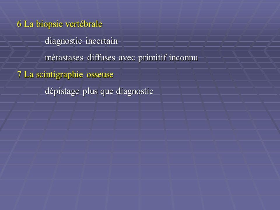 6 La biopsie vertébrale diagnostic incertain métastases diffuses avec primitif inconnu 7 La scintigraphie osseuse dépistage plus que diagnostic