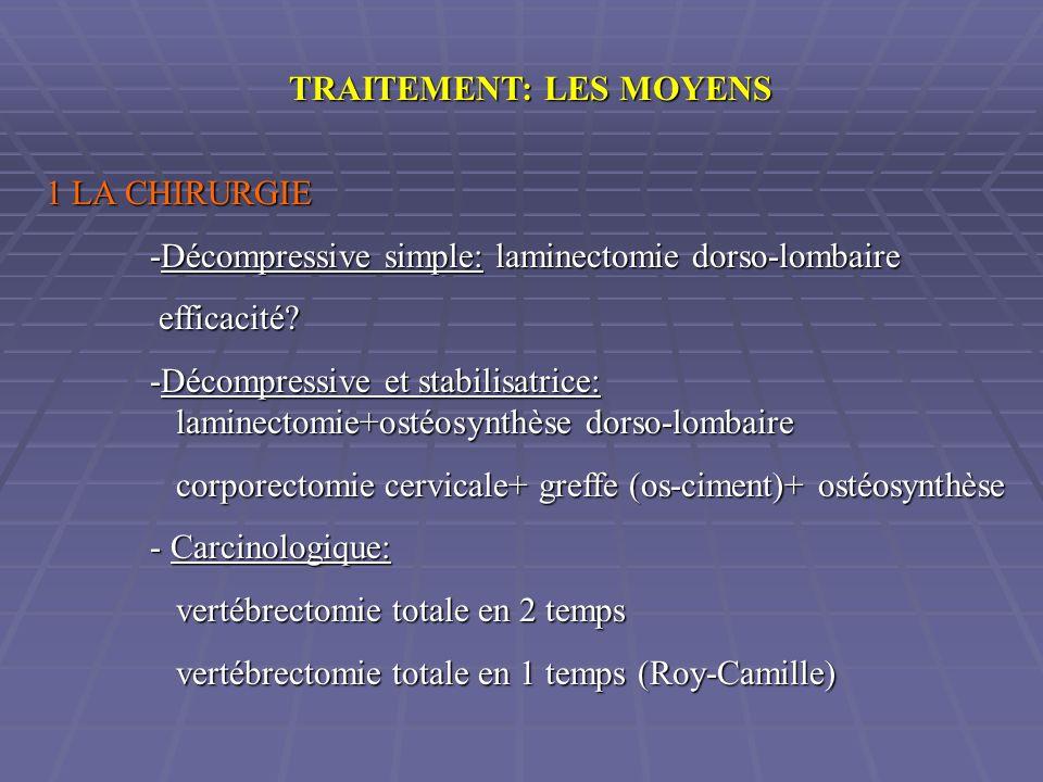 TRAITEMENT: LES MOYENS 1 LA CHIRURGIE -Décompressive simple: laminectomie dorso-lombaire efficacité? efficacité? -Décompressive et stabilisatrice: lam