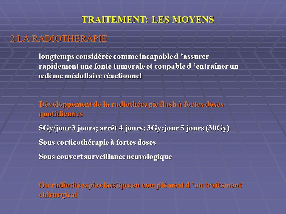 TRAITEMENT: LES MOYENS 2 LA RADIOTHERAPIE longtemps considérée comme incapable d assurer rapidement une fonte tumorale et coupable d entraîner un œdèm