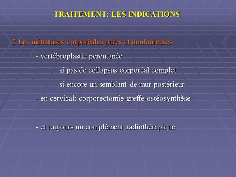TRAITEMENT: LES INDICATIONS 2 Les métastases corporéales pures et douloureuses - vertébroplastie percutanée si pas de collapsus corporéal complet si e