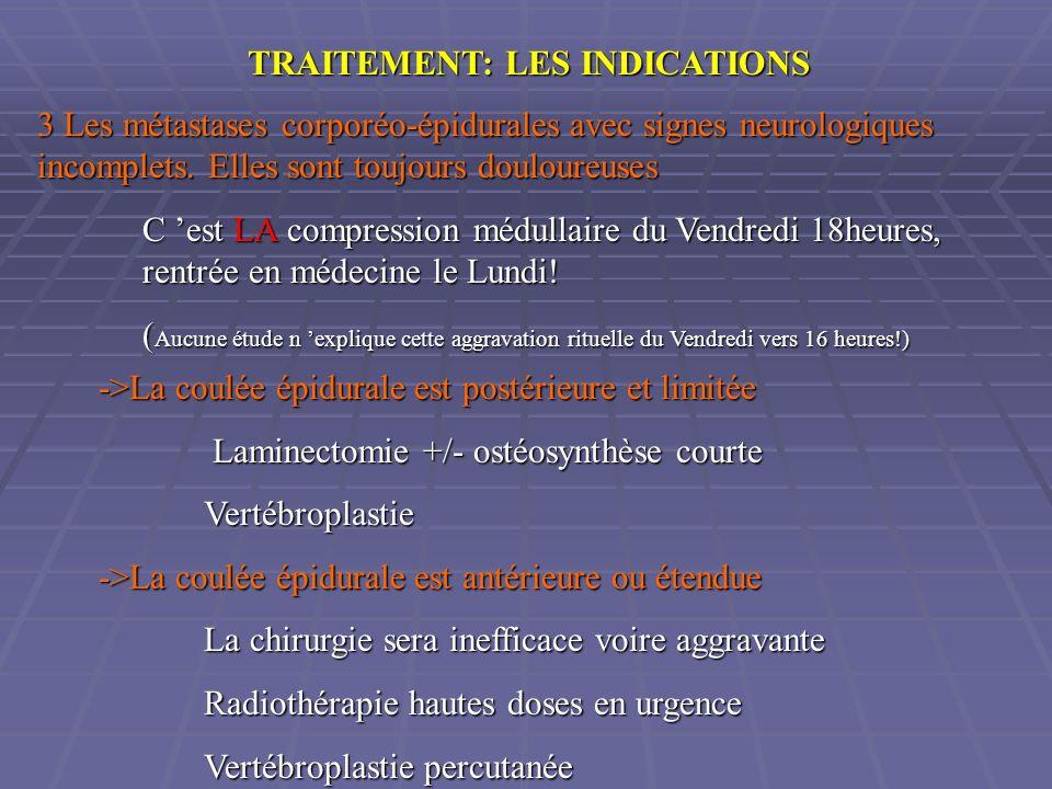 TRAITEMENT: LES INDICATIONS 3 Les métastases corporéo-épidurales avec signes neurologiques incomplets. Elles sont toujours douloureuses C est LA compr