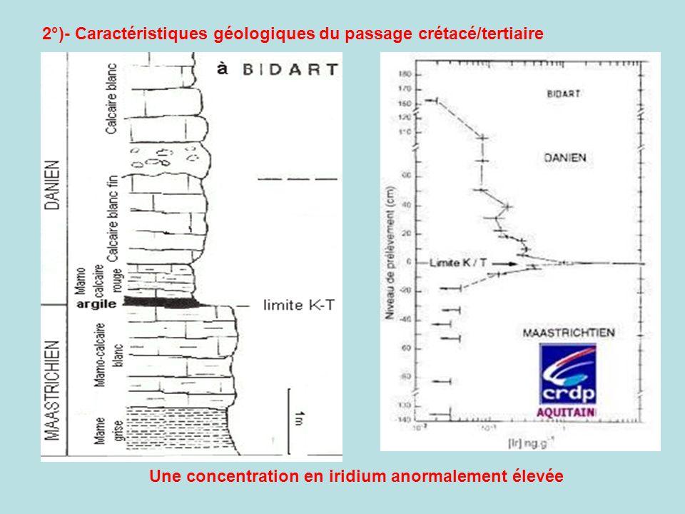 2°)- Caractéristiques géologiques du passage crétacé/tertiaire Une concentration en iridium anormalement élevée