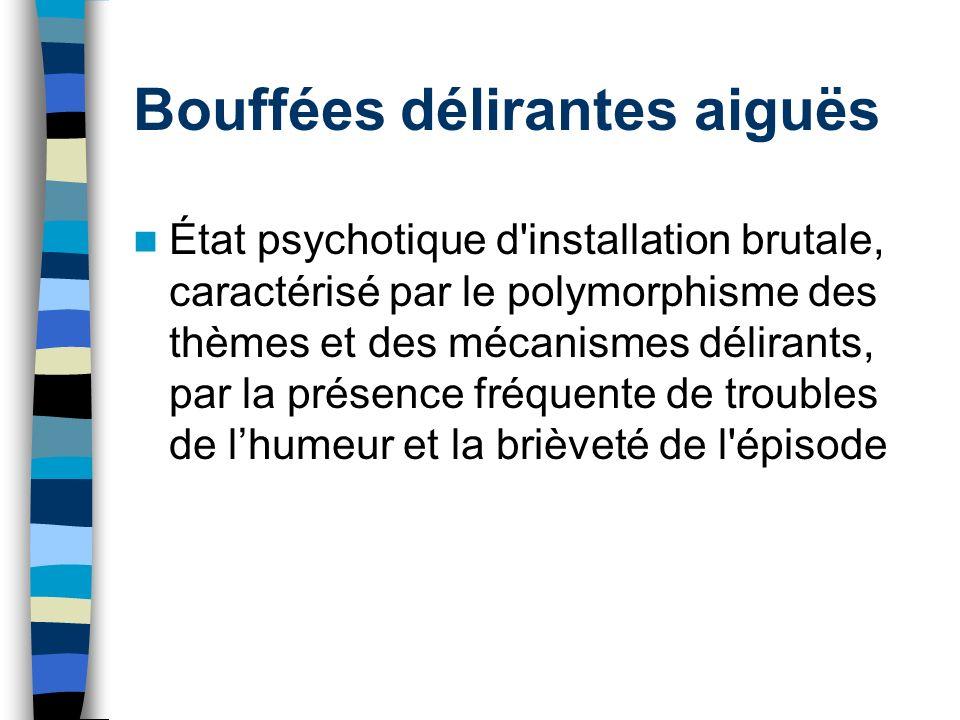 Bouffées délirantes aiguës État psychotique d'installation brutale, caractérisé par le polymorphisme des thèmes et des mécanismes délirants, par la pr