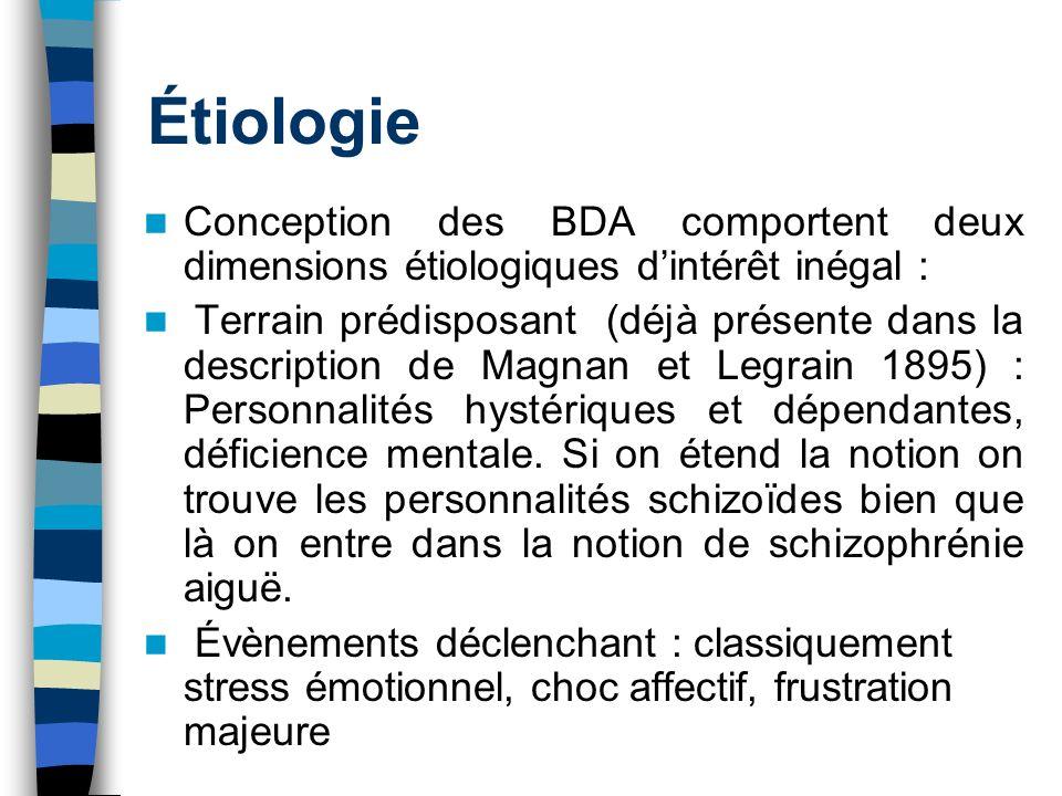 Étiologie Conception des BDA comportent deux dimensions étiologiques dintérêt inégal : Terrain prédisposant (déjà présente dans la description de Magn
