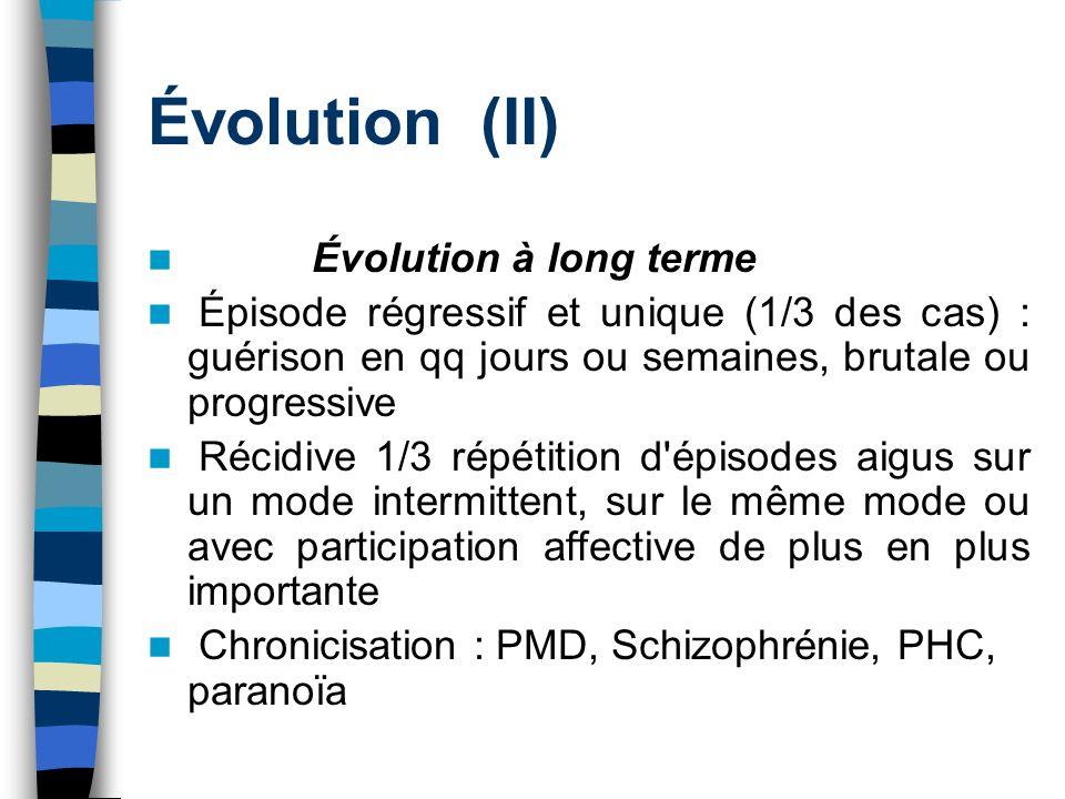 Évolution (II) Évolution à long terme Épisode régressif et unique (1/3 des cas) : guérison en qq jours ou semaines, brutale ou progressive Récidive 1/