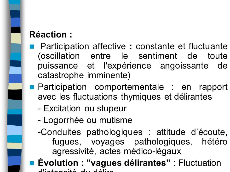 Réaction : Participation affective : constante et fluctuante (oscillation entre le sentiment de toute puissance et l'expérience angoissante de catastr