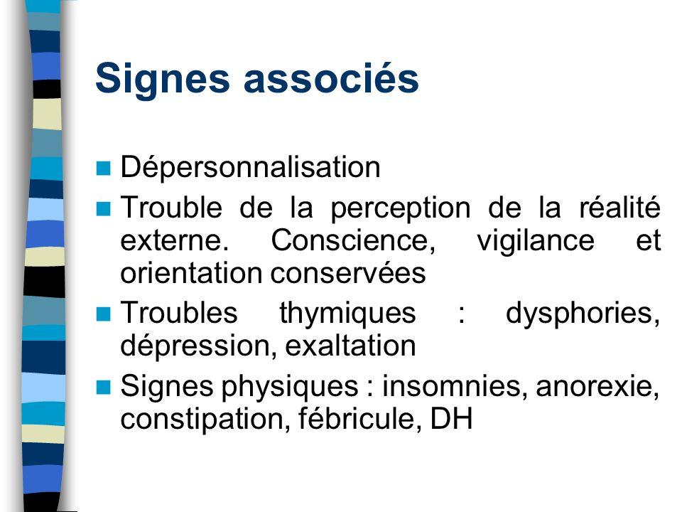 Signes associés Dépersonnalisation Trouble de la perception de la réalité externe. Conscience, vigilance et orientation conservées Troubles thymiques
