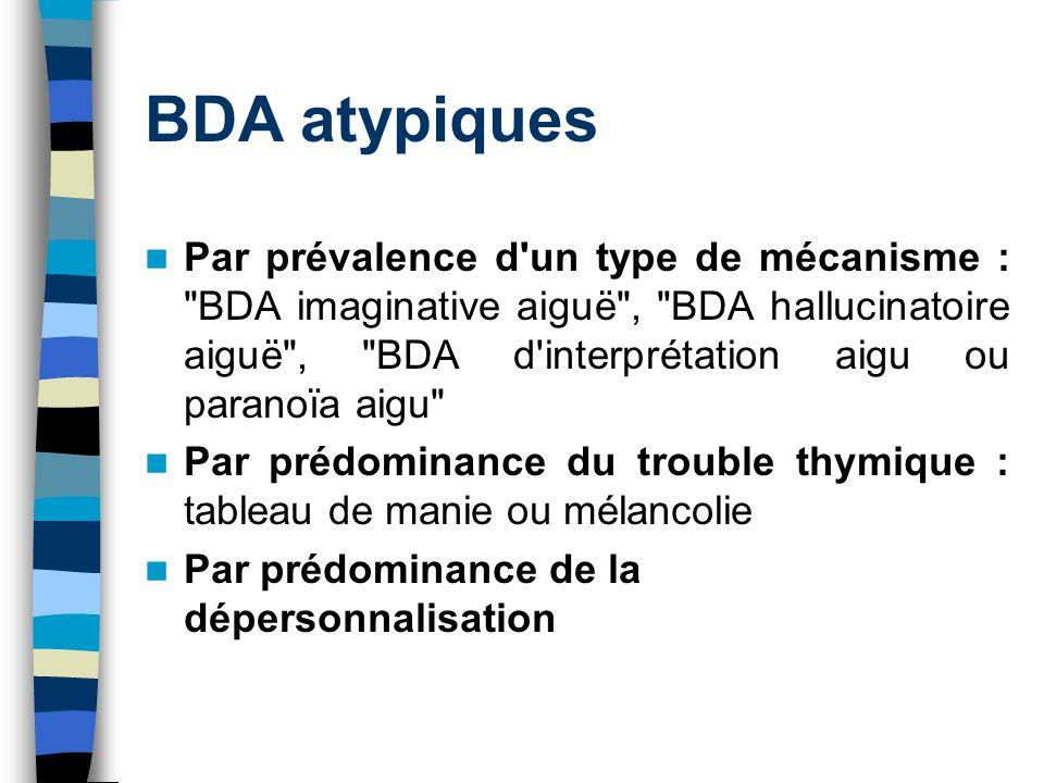 BDA atypiques Par prévalence d'un type de mécanisme :