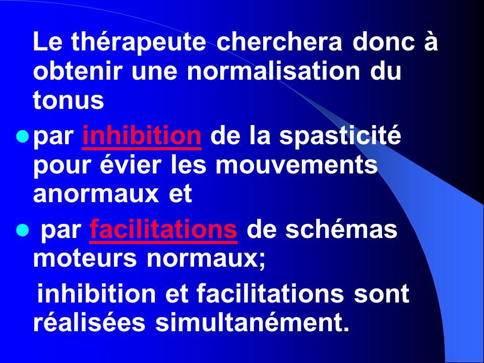 Le thérapeute cherchera donc à obtenir une normalisation du tonus par inhibition de la spasticité pour évier les mouvements anormaux etinhibition par
