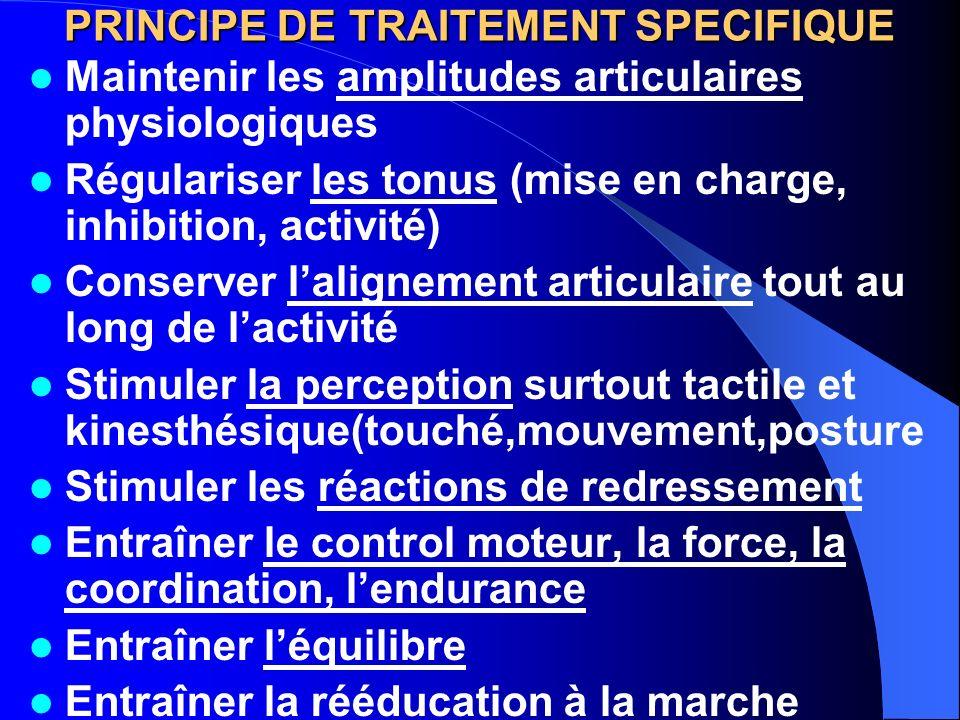 PRINCIPE DE TRAITEMENT SPECIFIQUE Maintenir les amplitudes articulaires physiologiques Régulariser les tonus (mise en charge, inhibition, activité) Co
