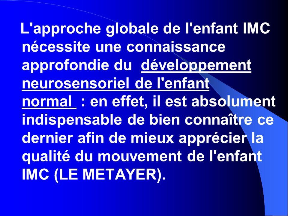 L'approche globale de l'enfant IMC nécessite une connaissance approfondie du développement neurosensoriel de l'enfant normal : en effet, il est absolu