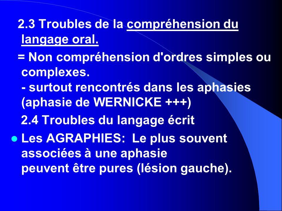 3) Les APRAXIES Difficulté à la manipulation d objet, sans anomalie à l examen neurologique.