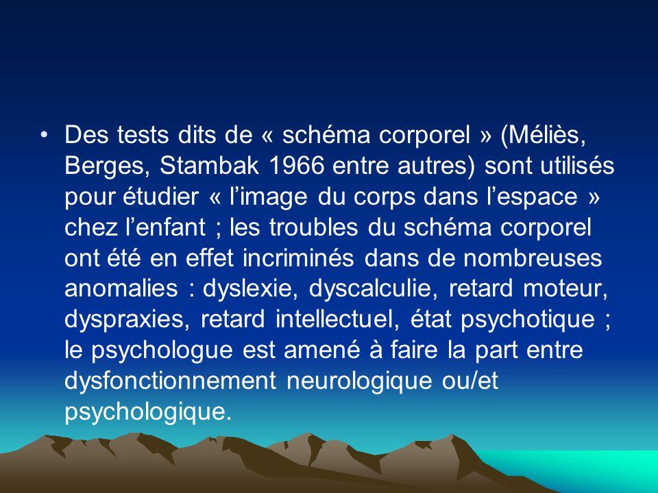 Des tests dits de « schéma corporel » (Méliès, Berges, Stambak 1966 entre autres) sont utilisés pour étudier « limage du corps dans lespace » chez len