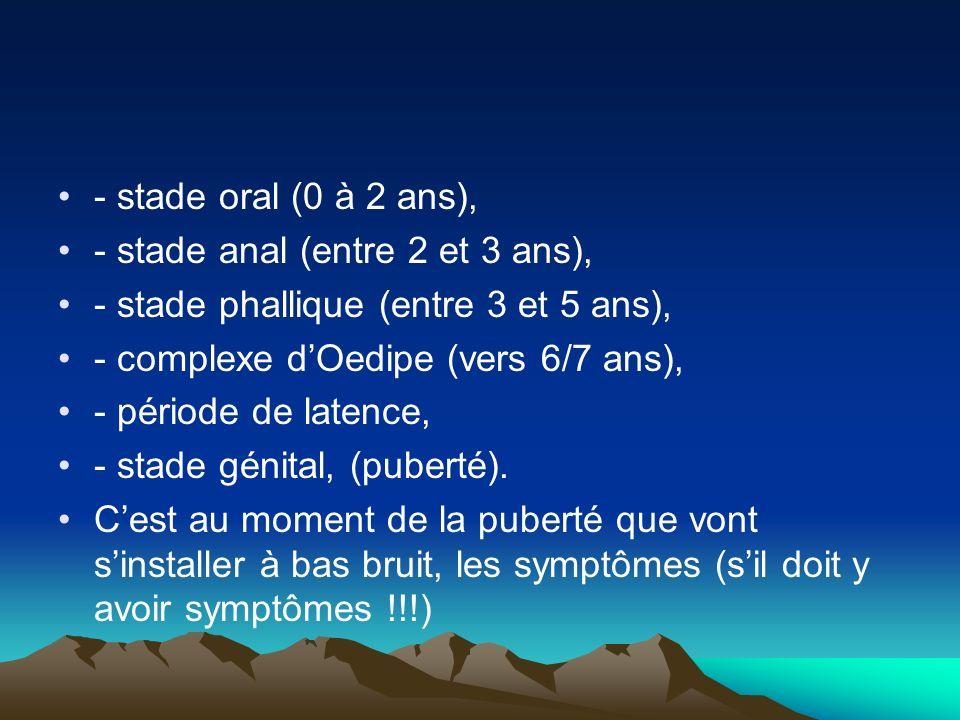 - stade oral (0 à 2 ans), - stade anal (entre 2 et 3 ans), - stade phallique (entre 3 et 5 ans), - complexe dOedipe (vers 6/7 ans), - période de laten