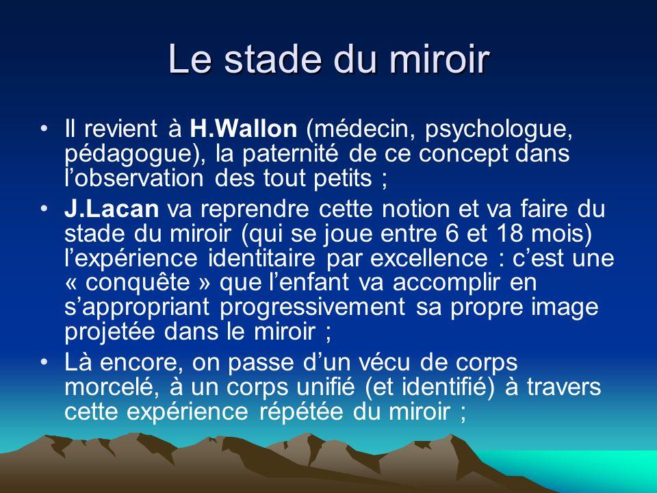 Le stade du miroir Il revient à H.Wallon (médecin, psychologue, pédagogue), la paternité de ce concept dans lobservation des tout petits ; J.Lacan va