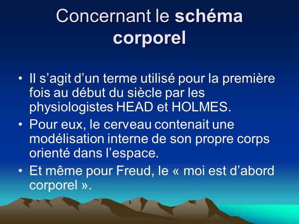 Concernant le schéma corporel Il sagit dun terme utilisé pour la première fois au début du siècle par les physiologistes HEAD et HOLMES. Pour eux, le